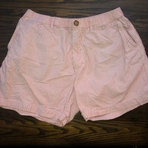 Classic coral seersucker chubbies size large